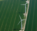 Image:  Aerial photo of two turbines and access track