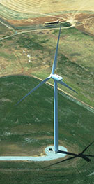 Image:  Aerial view of wind turbine and access track